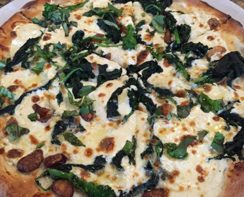 Broccoli Rabe on White Pizza